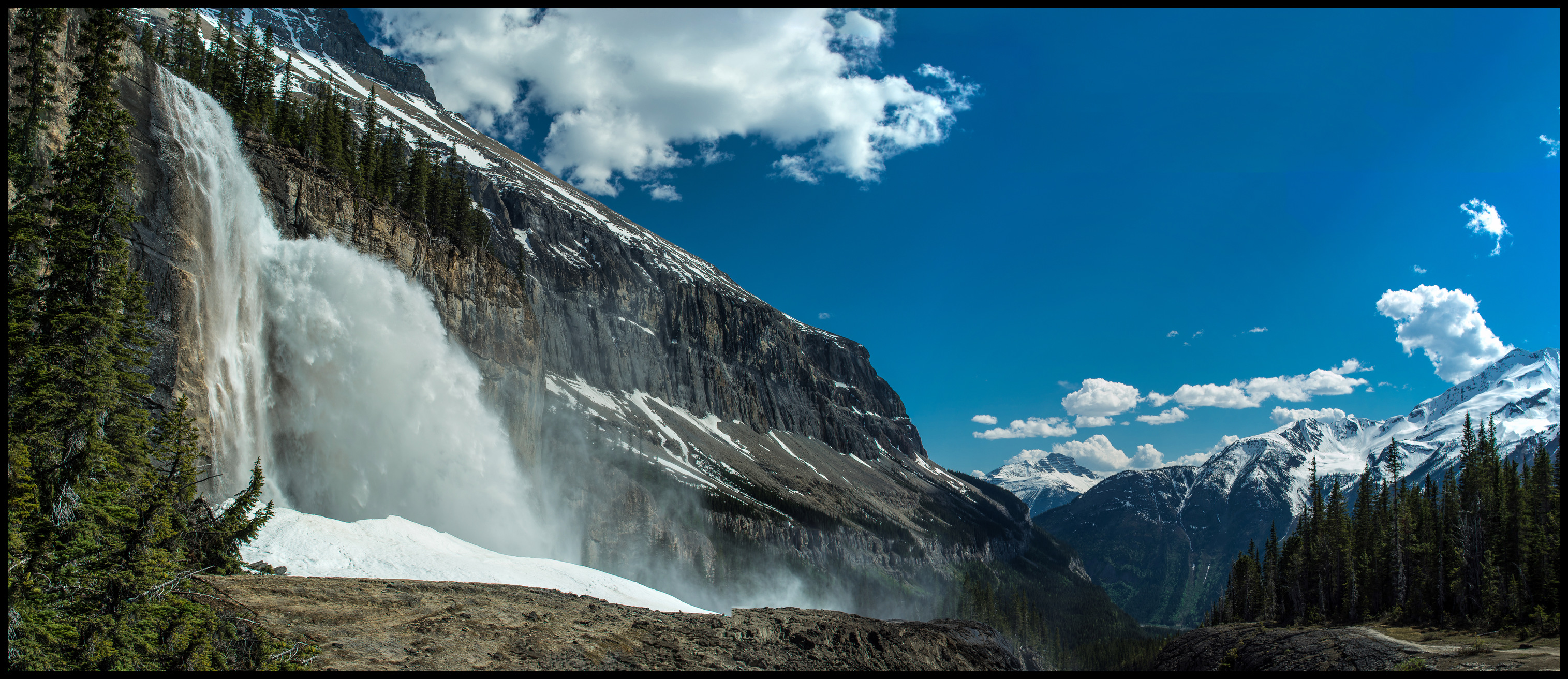 Mighty Emperor Falls on Berg Lake Trail, stitch Panorama Sony A7 / Canon FD Tilt Shift 35 2.8