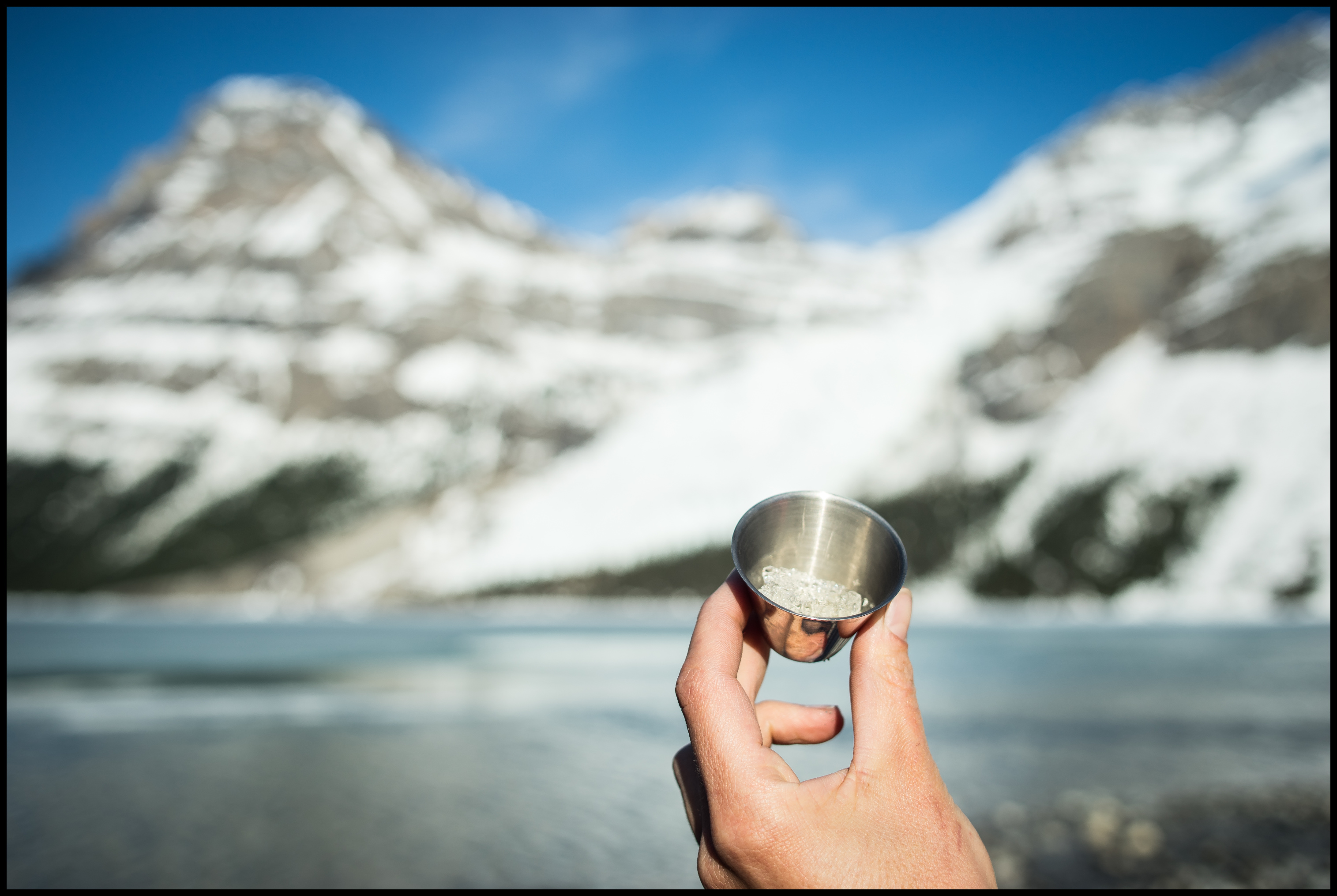 Doesn't taste right without glacier ice :) Berg Lake / Marmot campsite Sony A7 / Canon FD Tilt Shift 35 2.8