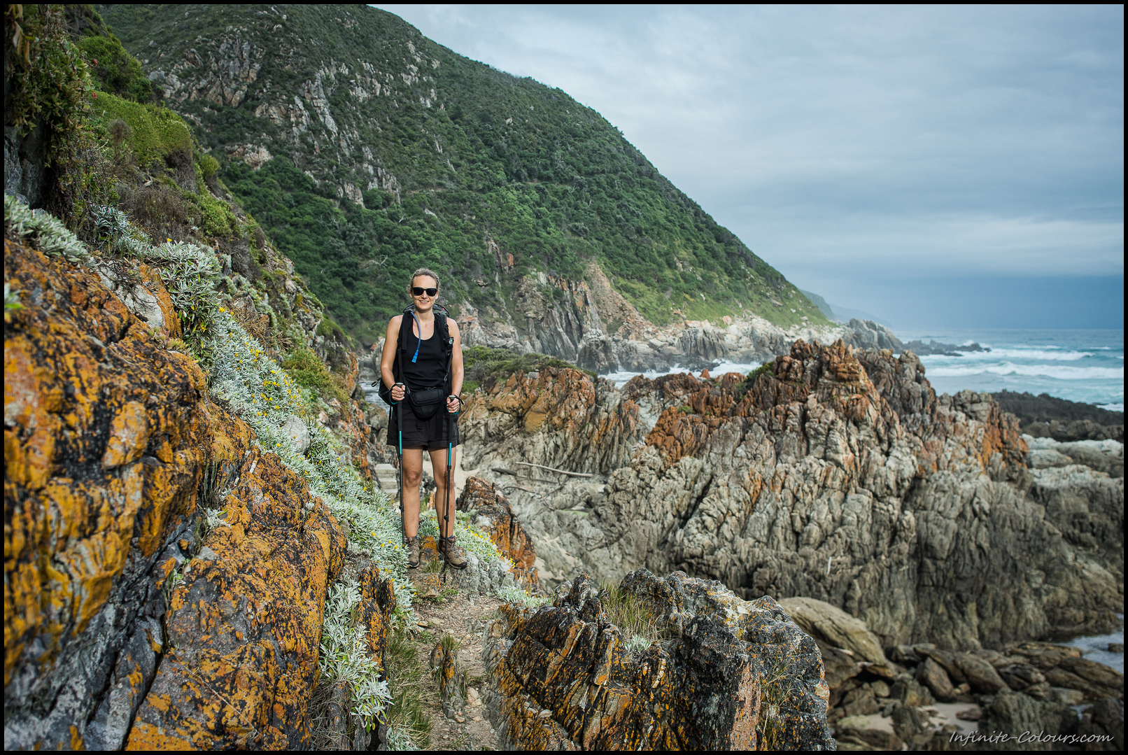 Being happy on a rough trail after having crossed a rough Bloukrans