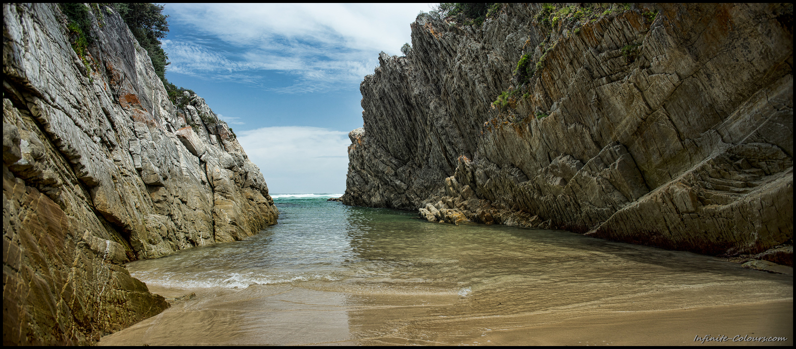 """""""Hidden"""" spot at Natures Valley, sheltered from the moody seas – an excellent place to take a last dip"""