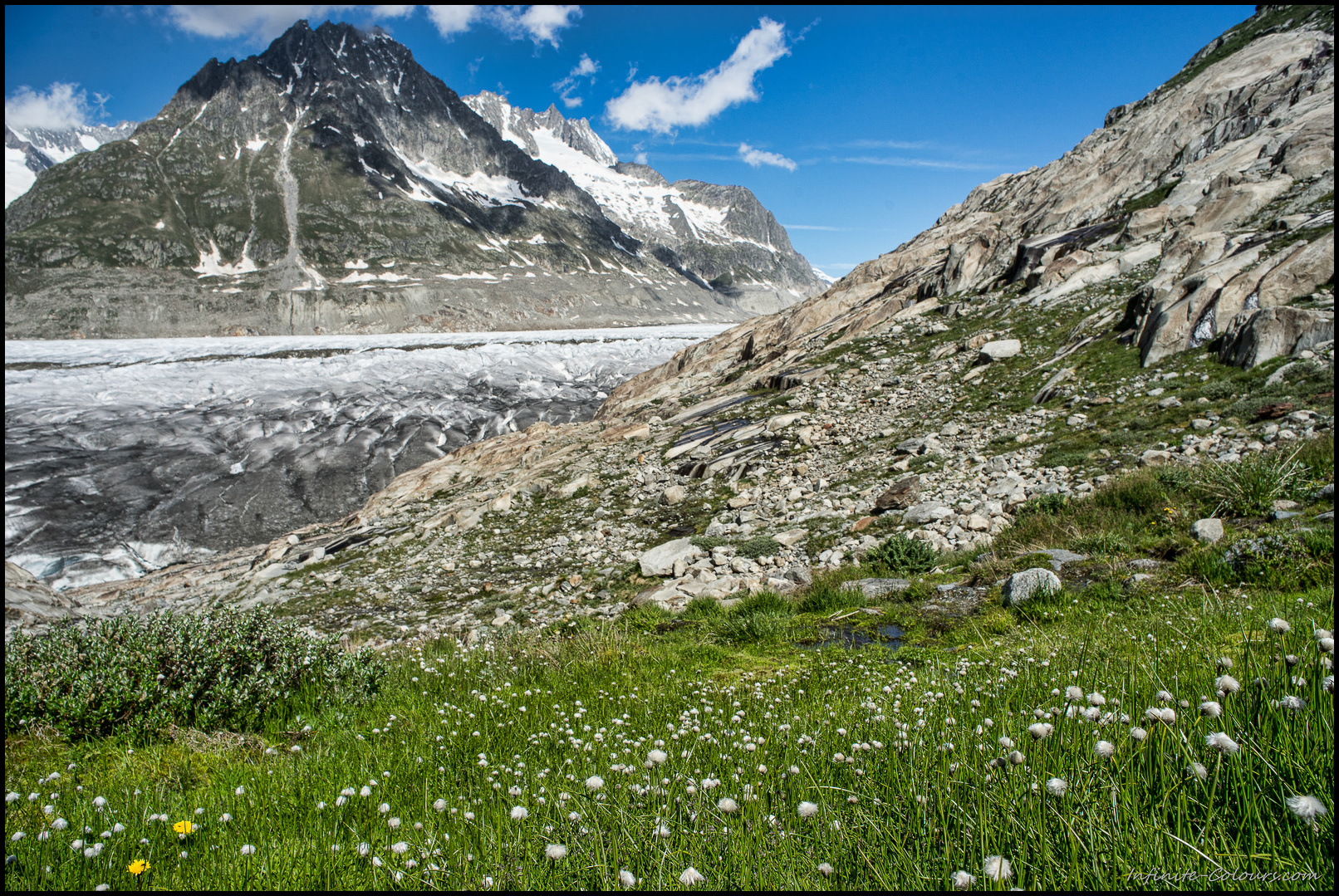 Patches of cotton grass surround the beautiful Märjelensee