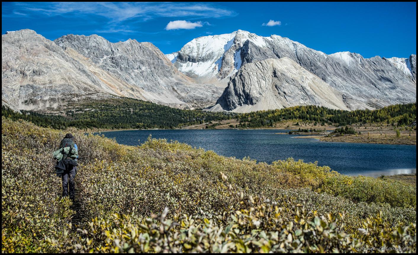 Hiking the bushtrail along Baker lake in the Skoki lakes section of Banff nationalpark