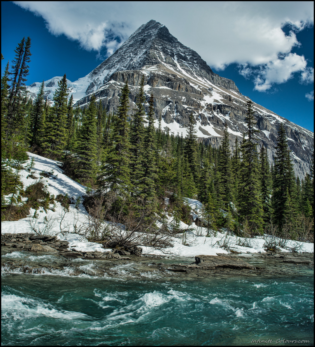 Mighty Robson as seen from Emperor Falls campsite on Berg Lake Trail, stitch Panorama