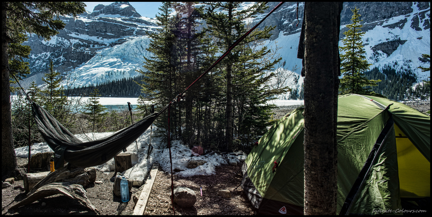 Berg Lake / Marmot hammock campsite panorama