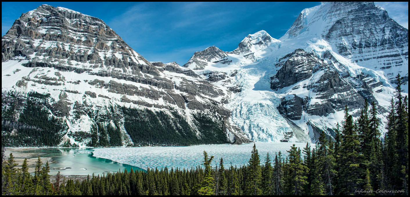 Stunning panorama view from Toboggan Falls at Mount Rearguard, Berg glacier and Mt. Robson