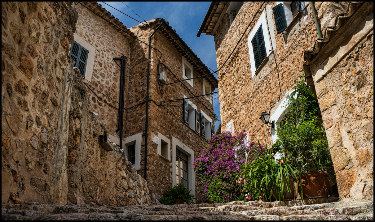 Fornalutx village is built of stone and red roof tiles