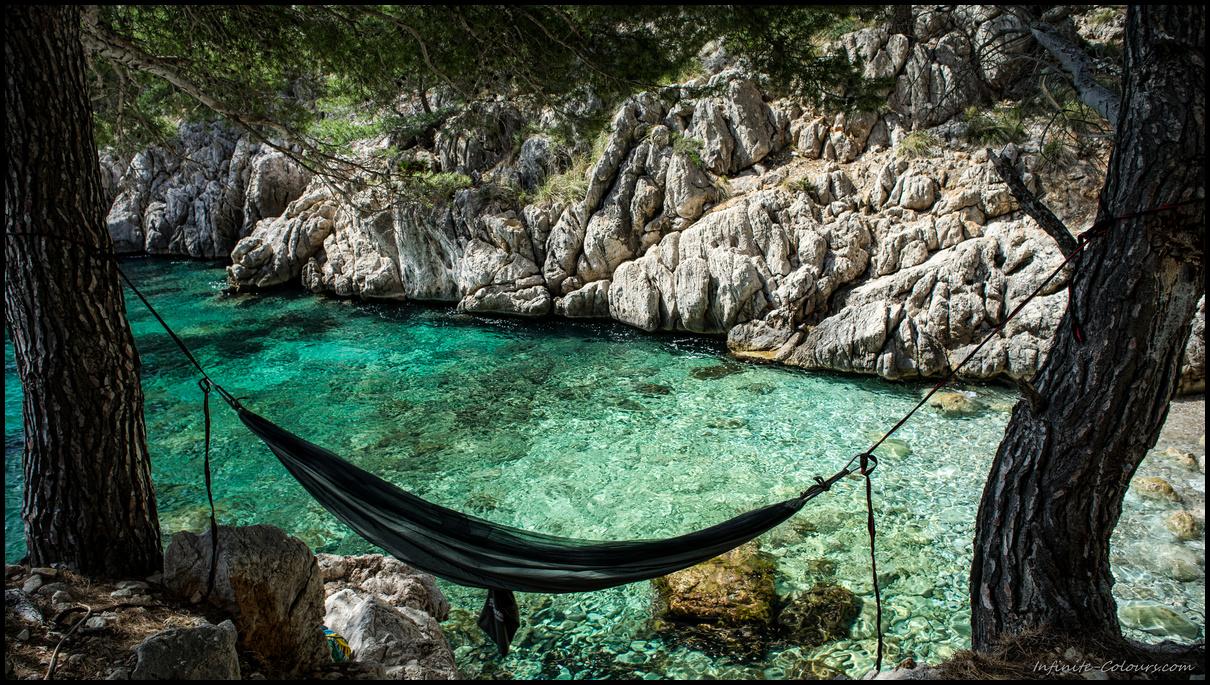 Cala Murta beach hammock, Formentor, Mallorca