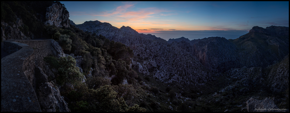Sunset panorama at Cova des Mirador de s'Entreforc viewpoint, Escorca, Mallorca