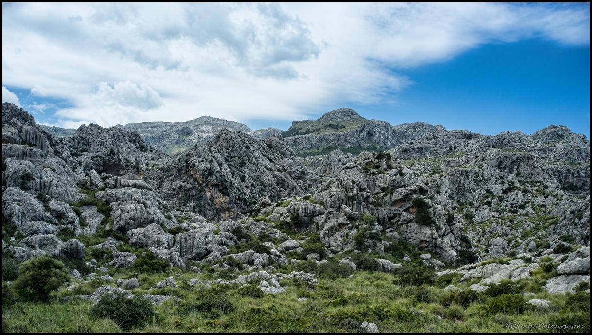 Rugged coastal karst landscape around Vinyes Mortitx, Torrent Fondo de Mortitx hike