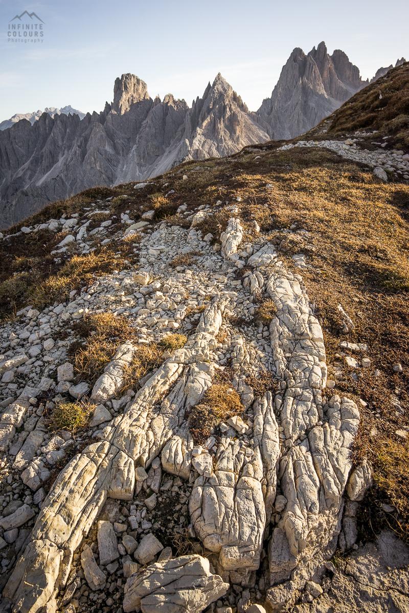 Last mountain light sunset Monte Campedelle Sentiero Bonacossa to Cadini di Misurina