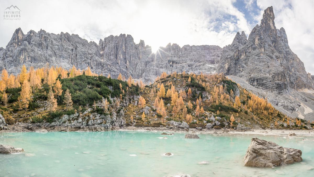Lago Sorapis lärchen larches Punte tre Sorelle Monte delle caccia grande