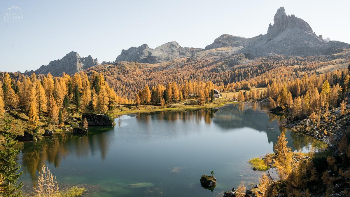 Lago Federa landscape photography sunset golden larches magic light mountains rifugio croda da lago becco di mezzodi