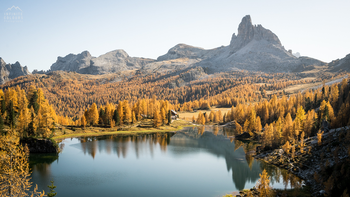 Lago Federa landscape photography sunset golden larches magic light mountains rifugio croda da lago becco di mezzodi