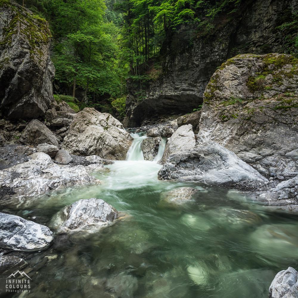 Wasserfall Rheintal Vorarlberg Schlucht Slot Canyon Wasserfall Landschaftsfotografie Klamm Canyon Frödisch Flusswanderung Canyoning Vorarlberg Feldkirch Bregenz Österreich Fotografie Gumpen