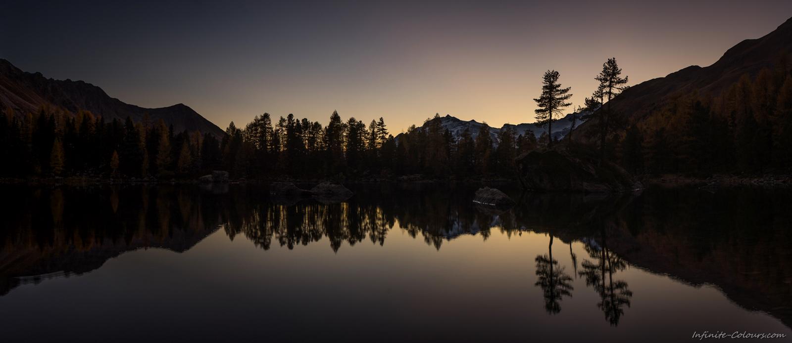 Lagh da Saoseo twilight Val Campo Sonnenuntergang Fotografie Photography Langzeitbelichtung Schweiz Bernina