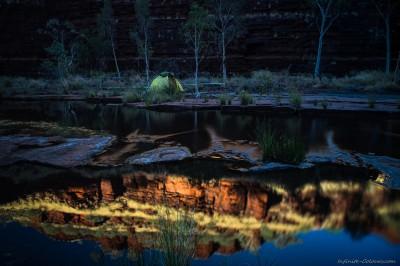 Dales Gorge bivouac reflections Karijini National Park, Western Australia