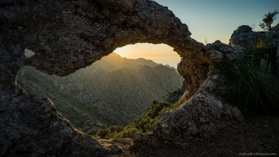 Sunset at natural arch, Torrent de Parais, Tramuntana (I)Escorca, Mallorca, Spain