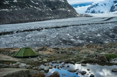 Jungfrau-Aletsch, Wallis, Switzerland Aletsch Gletscher campsite
