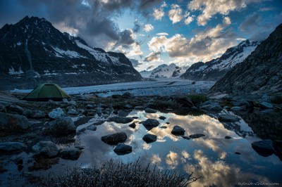 Jungfrau-Aletsch, Wallis, Switzerland Aletsch Glacier bivouac campsite