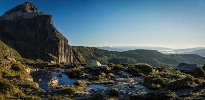 Tarn Shelf Bivy - Morning glory after a horrible climb up on Tarn Shelf camp, Tasmania Australia