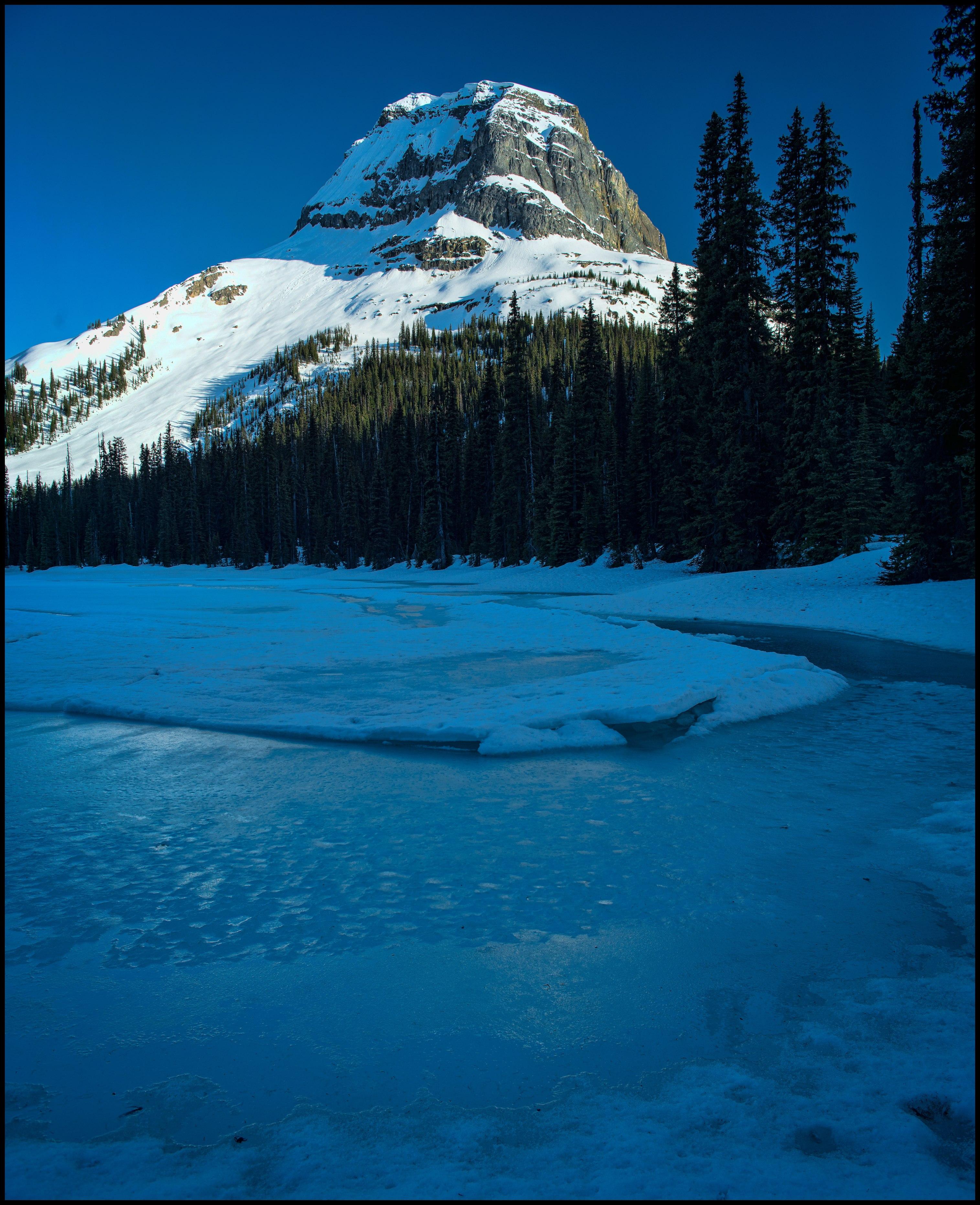 Last light at frozen Yoho Lake Winter Camping Sony A7 / Canon FD Tilt Shift 35 2.8