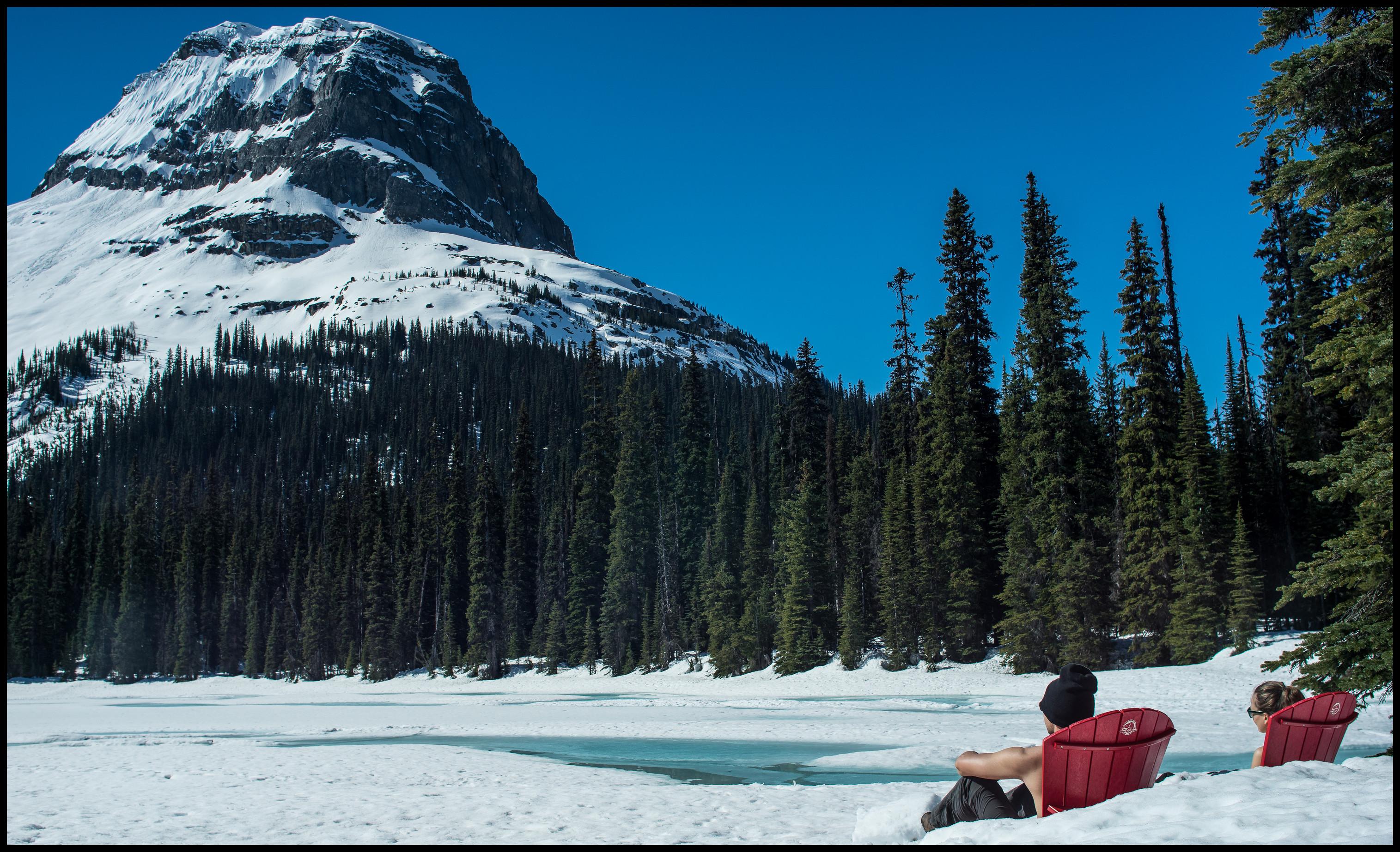 Red chair view, Yoho Lake Winter Camping