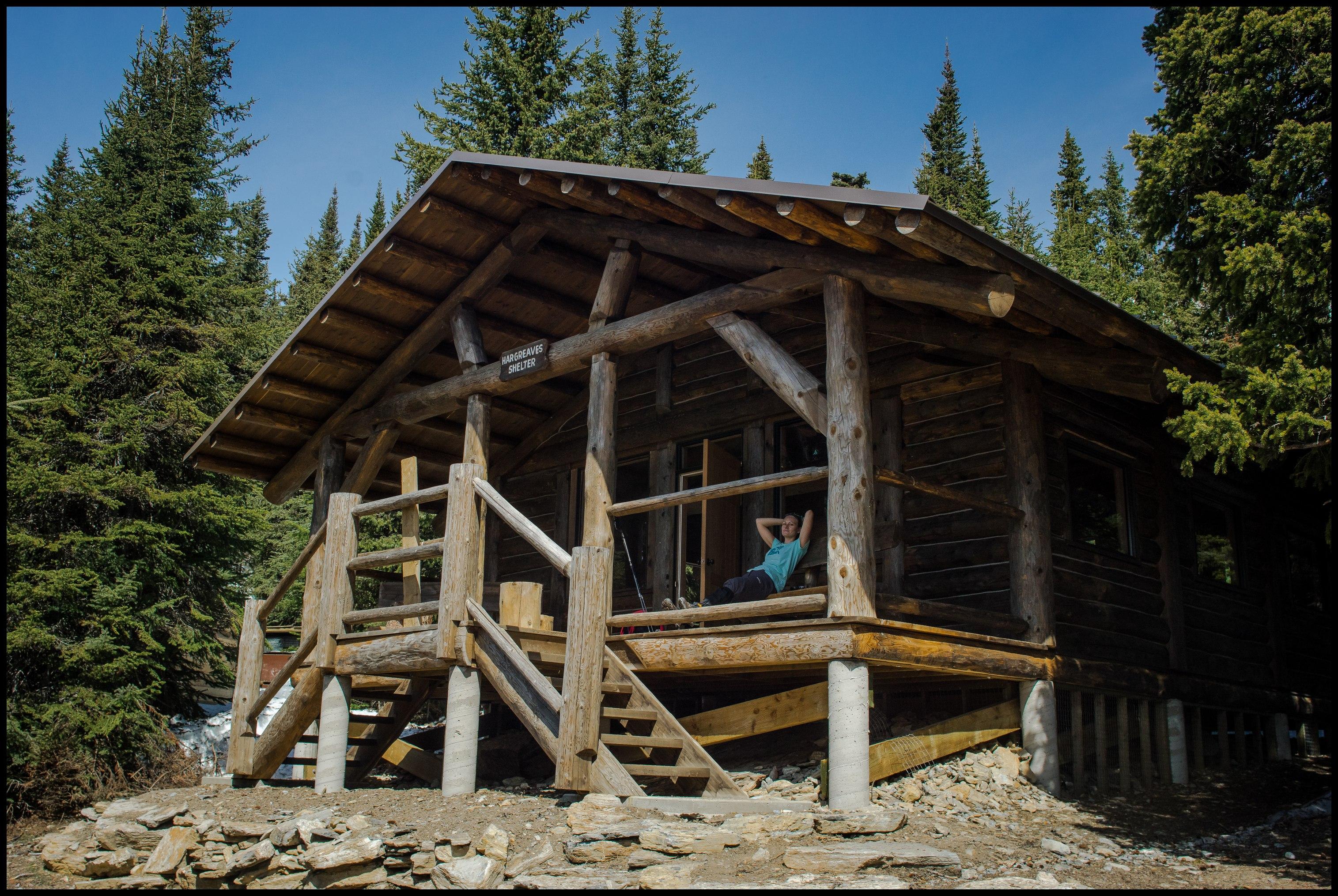 Enjoying the excellent new hut at Berg Lake campsite, Sony A7 / Canon FD Tilt Shift 35 Sony A7 / Canon FD Tilt Shift 35 2.8