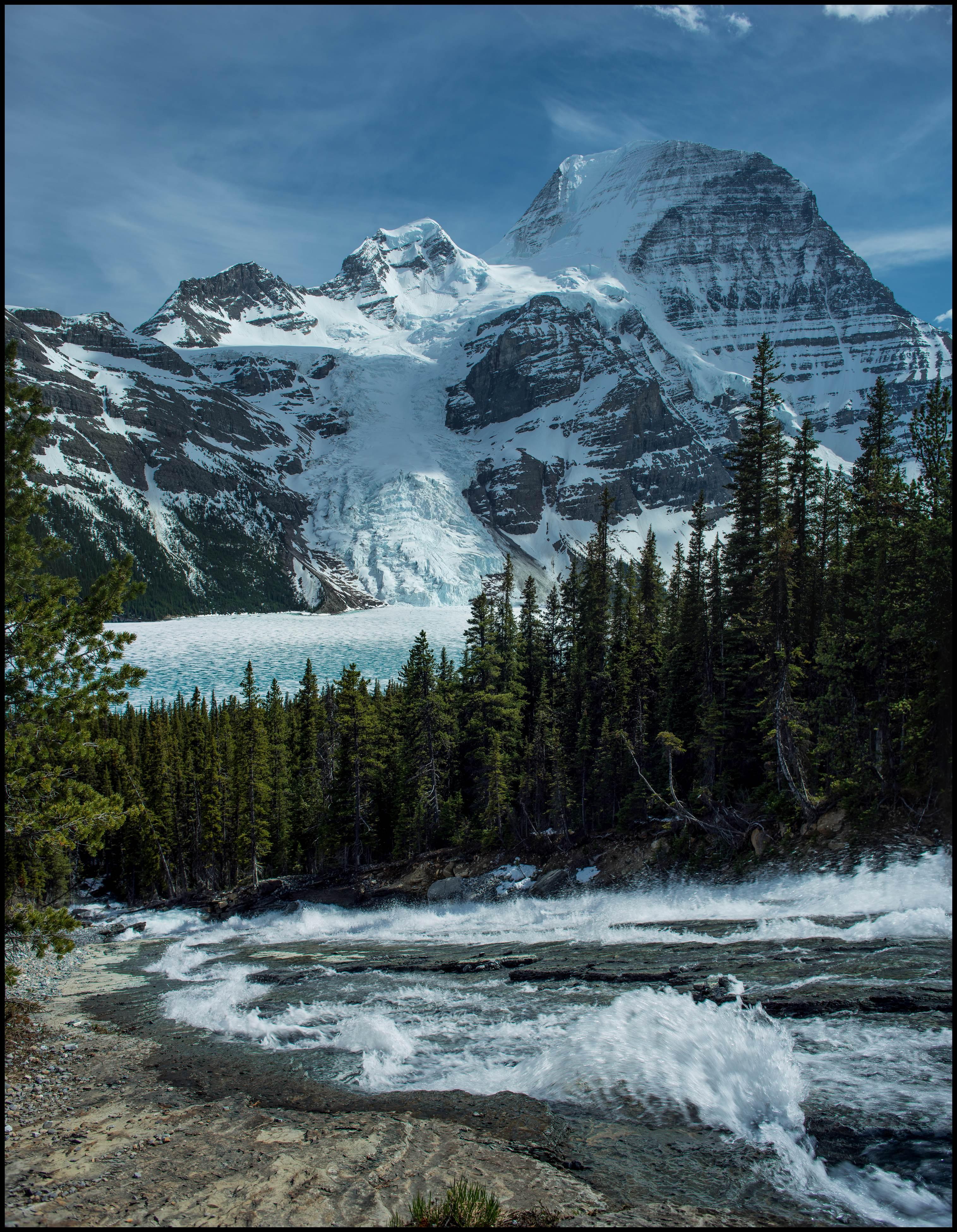 View from halfway up at Toboggan Falls, Berg Lake Sony A7 / Canon FD Tilt Shift 35 2.8