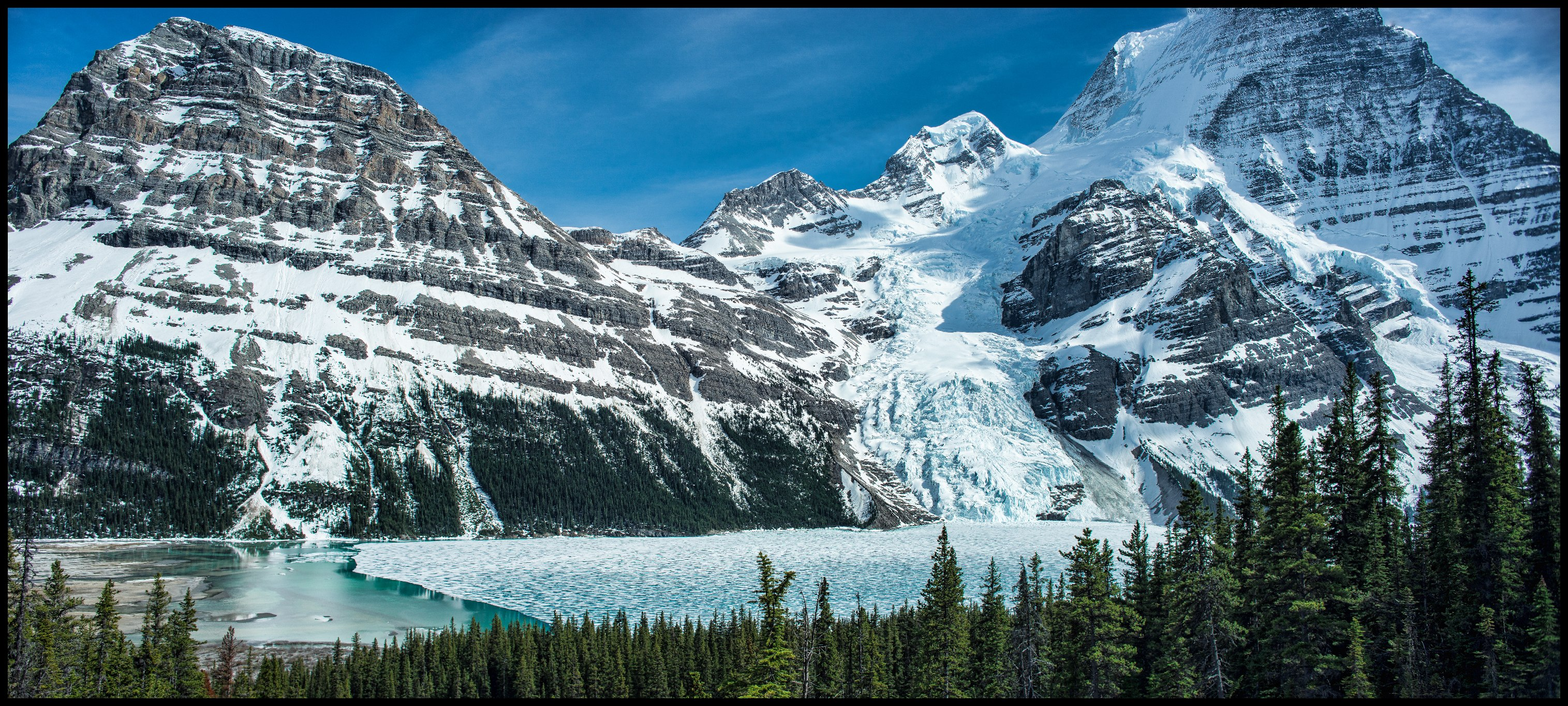 Stunning panorama view from Toboggan Falls at semi frozen Berg Lake Sony A7 / Canon FD Tilt Shift 35 2.8