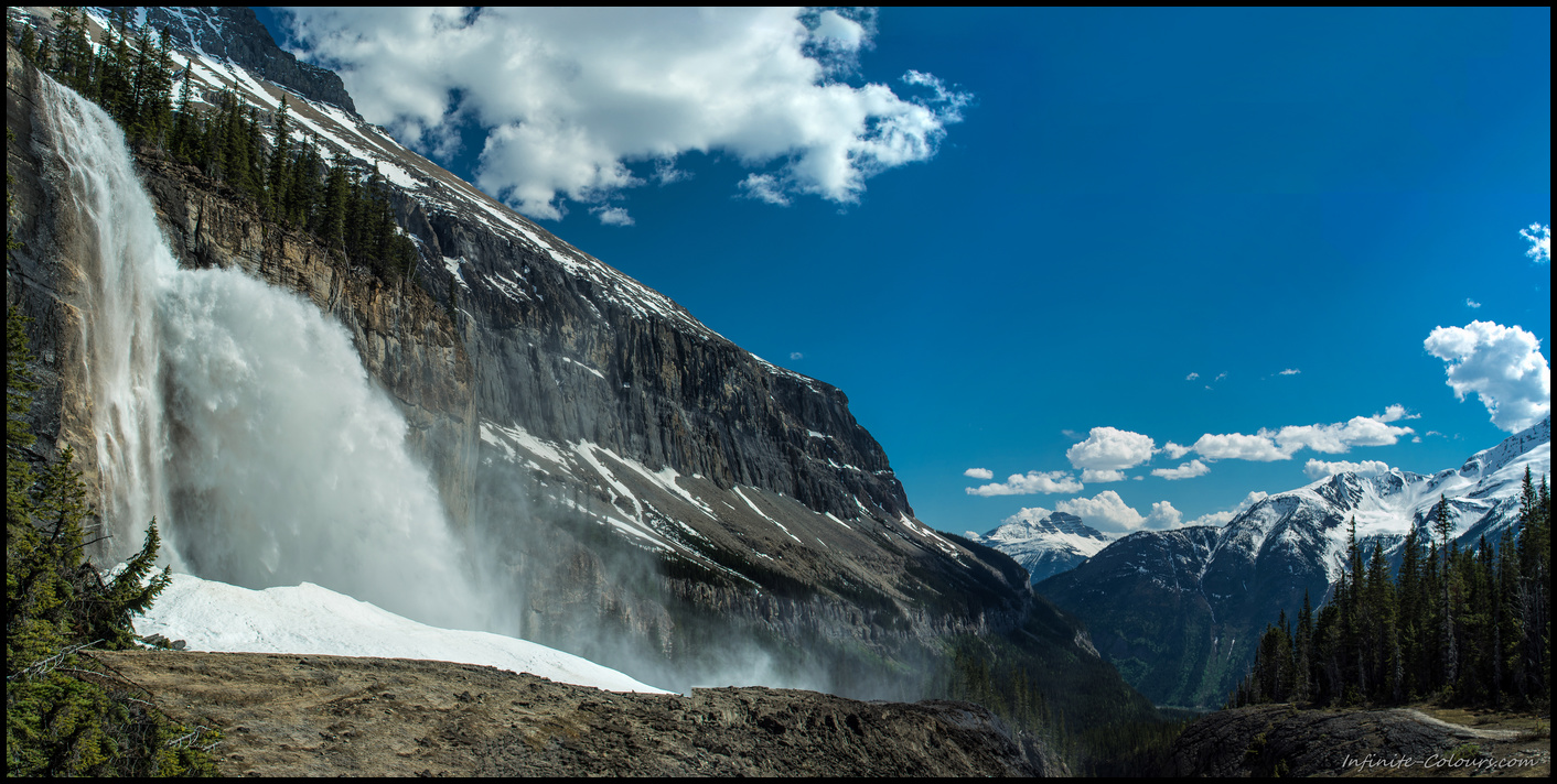 Mighty Emperor Falls on Berg Lake Trail, stitch Panorama