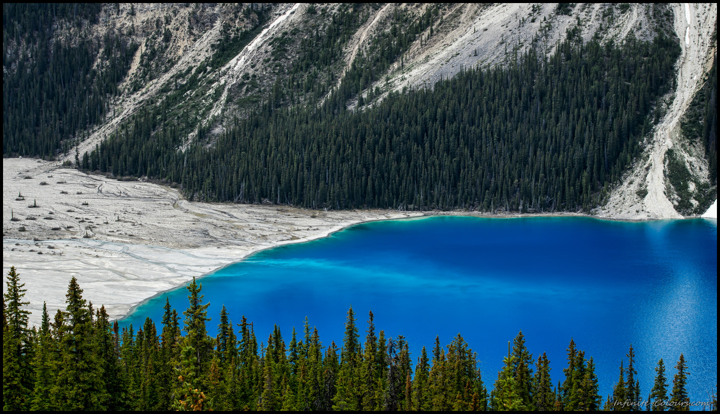 Amazing, almost unnatural blue colour of Peyto Lake Sony A7 Canon FD 80-200 L