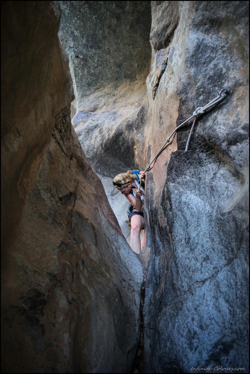 Ropes help to manage the tricky Pas de s'Estaló Torrent de Pareis