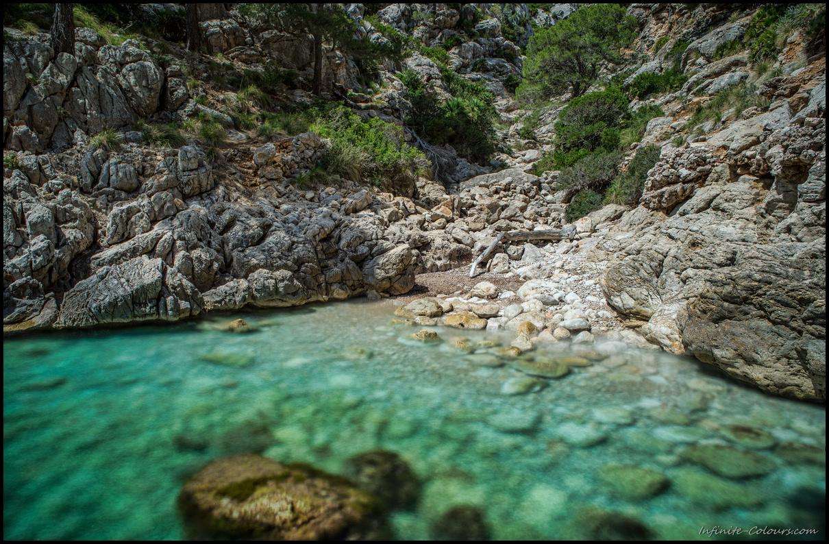 Cala Murta rocky beach long exposure