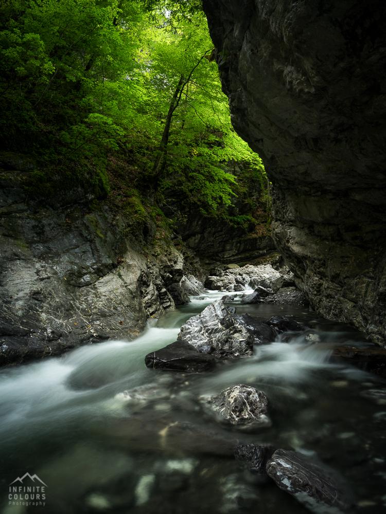 Wasserfall Rheintal Vorarlberg Schlucht Slot Canyon Wasserfall Landschaftsfotografie Klamm Canyon Frödisch Canyoning Vorarlberg Feldkirch Bregenz Österreich Fotografie Gumpen