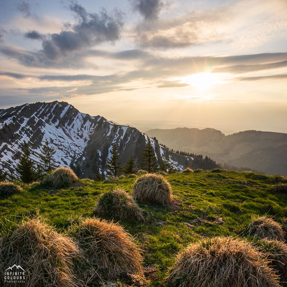 Nagelfluh Buralpkopf Sonnenuntergang