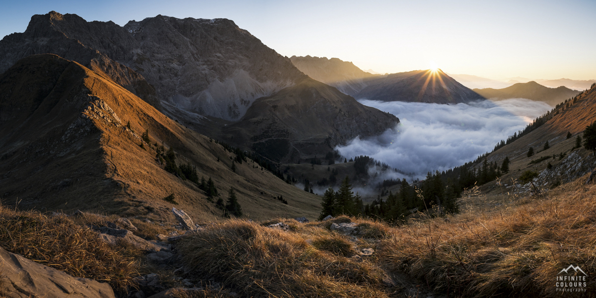 Retterschwanger Tal Panorama Alpen Großer Daumen Kleiner Daumen Nebeltal Nebel Sonnenuntergang Fotografie Landschaftsfotografie Allgäu November