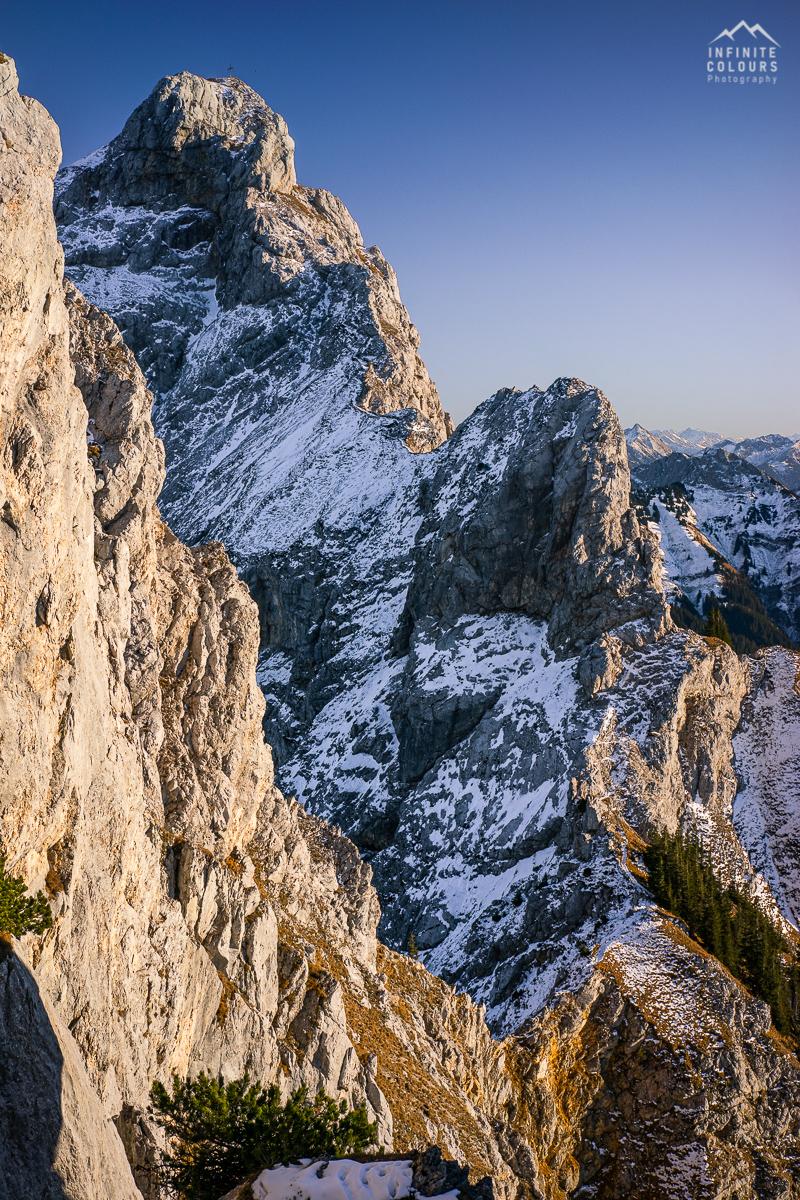 Landschaftsfotografie Tannheimer Tal Gimpel Sonnenuntergang Herbst Tirol Rote Flüh Schartschrofen Klettersteig Pfronten Wanderung