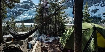 Robson Berg Lake camping hammock British Columbia, Canada