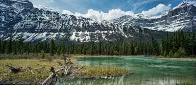 Mistaya River bend Icefields Parkway, Banff, Alberta, Canada