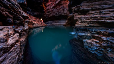 Sony A7 Olympus OM 24 2.8 panoramaSurreal Kermit's poolHancock Gorge, Karijini pools photography landscape fotografie