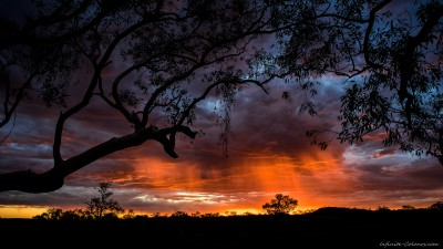 Flaming skies sunset, Hamersley GorgeKarijini National Park, Western Australia