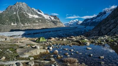 Jungfrau-Aletsch, Wallis, Switzerland Aletsch Gletscher camp