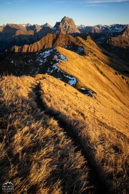 Üntschenkopf Sonnenuntergang Widderstein Landschaftsfotografie Bregenzerwald