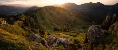 Siplingerkopf-Sonnenuntergang-Allgäu Fotografie Landschaftsfotografie Berge Nagelfluh Balderschwang Bregenzerwald Landschaftsfotografie landscape sunset panorama mountains